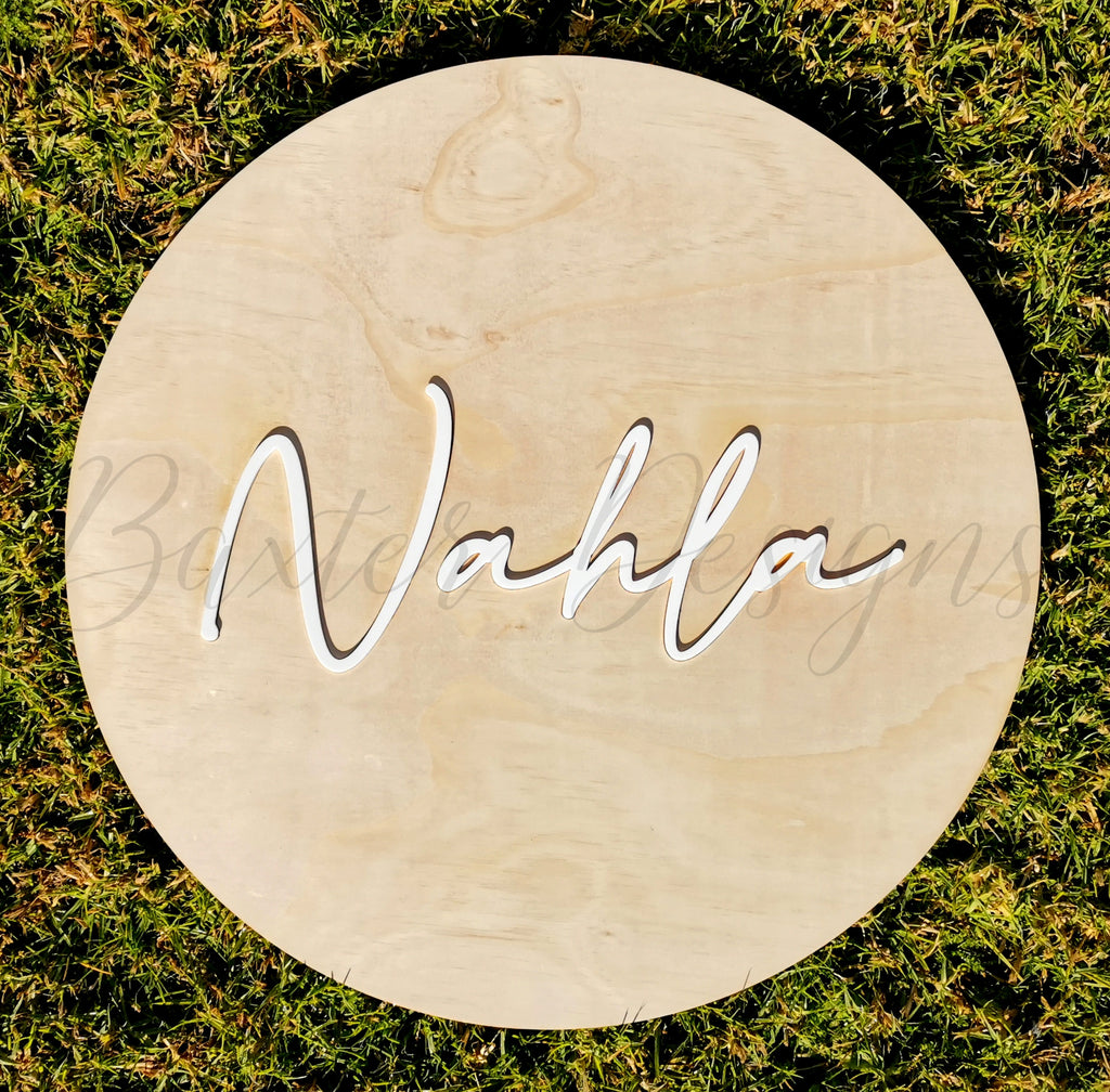 Wood 3D Personalised Name Disc White Acrylic