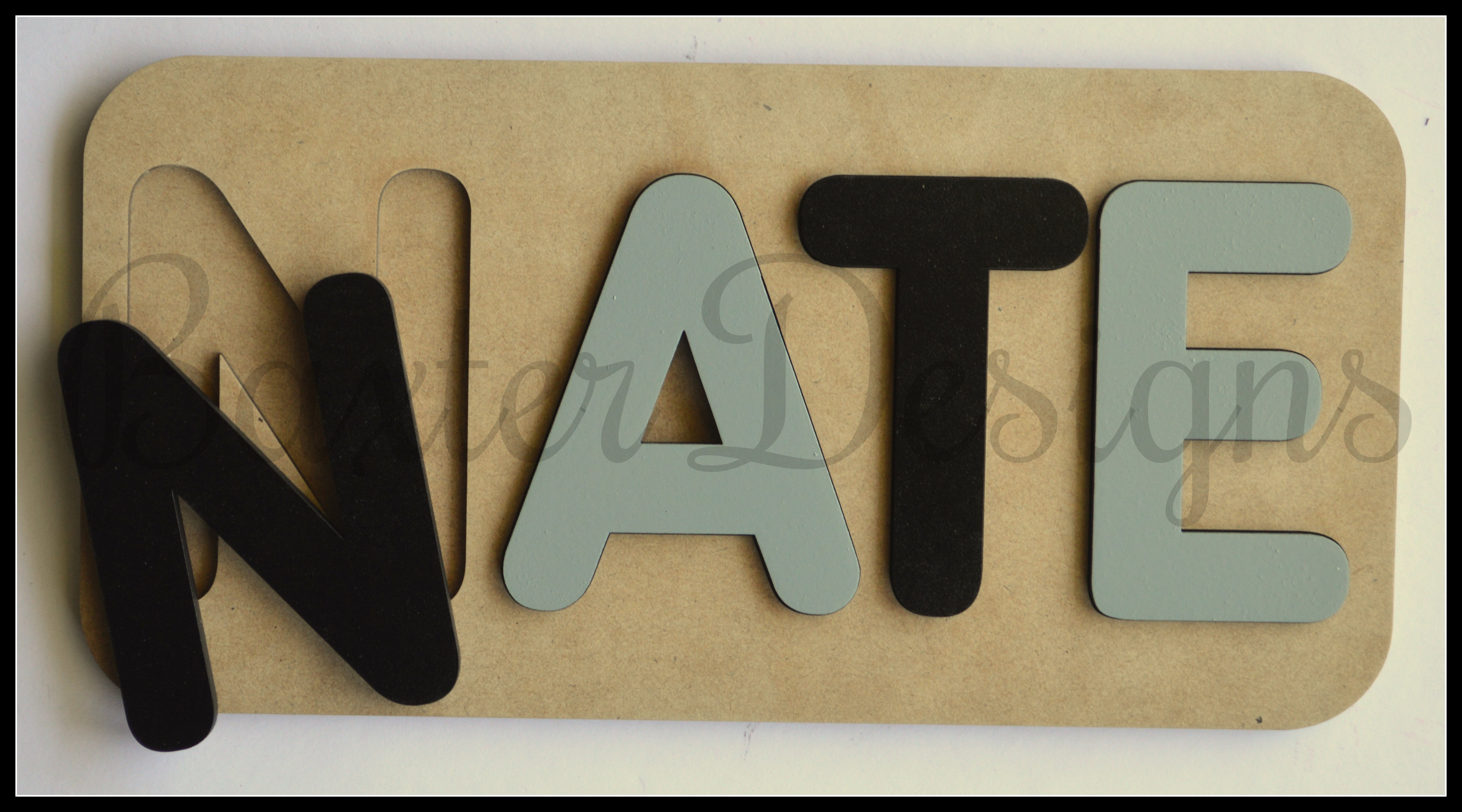 3-4 Letter Name Puzzle Raw and Coloured Personalised ...