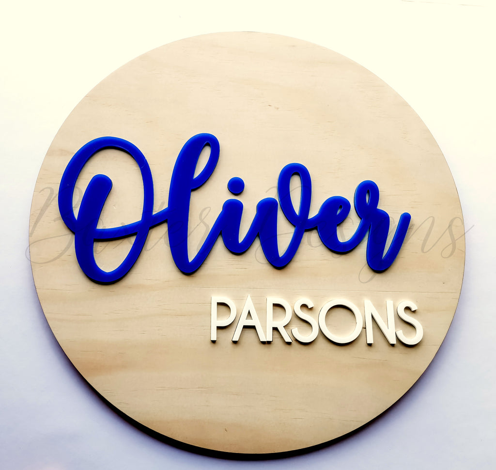 Wood 3D Personalised Name Disc Blue and White Acrylic