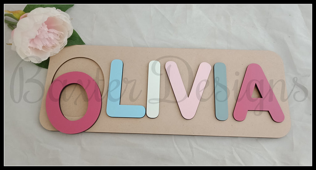 Personalised Name Puzzle 5-7 Letter Painted