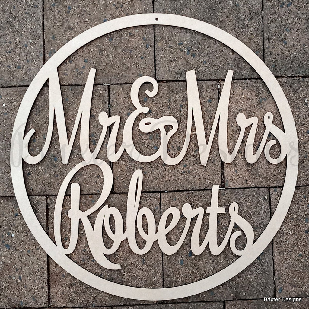 Hanging Hoop Name Sign 60cm MDF Personalised