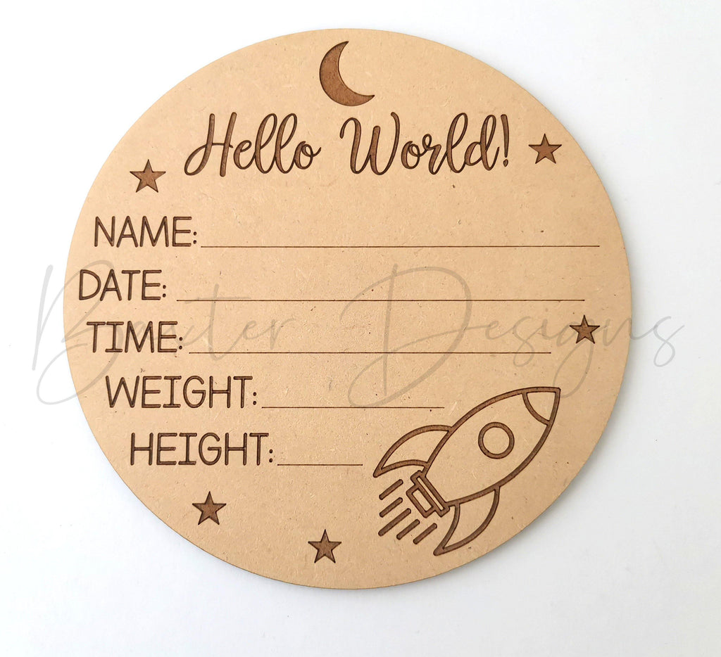 Hello World Baby Birth Announcement Discs - Rocket - Baxter Designs Australia