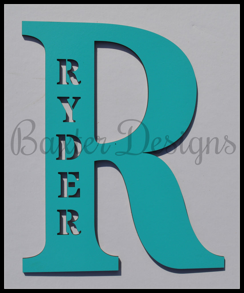 wooden letters personalised aqua