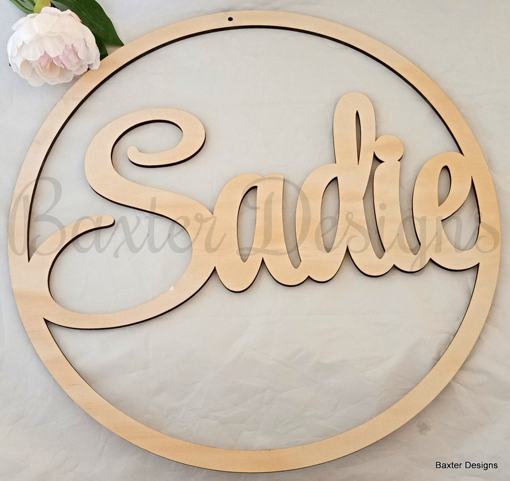 50cm Ply Hanging Hoop Sign for Weddings, Christenings, Baby Showers, Engagements and Events