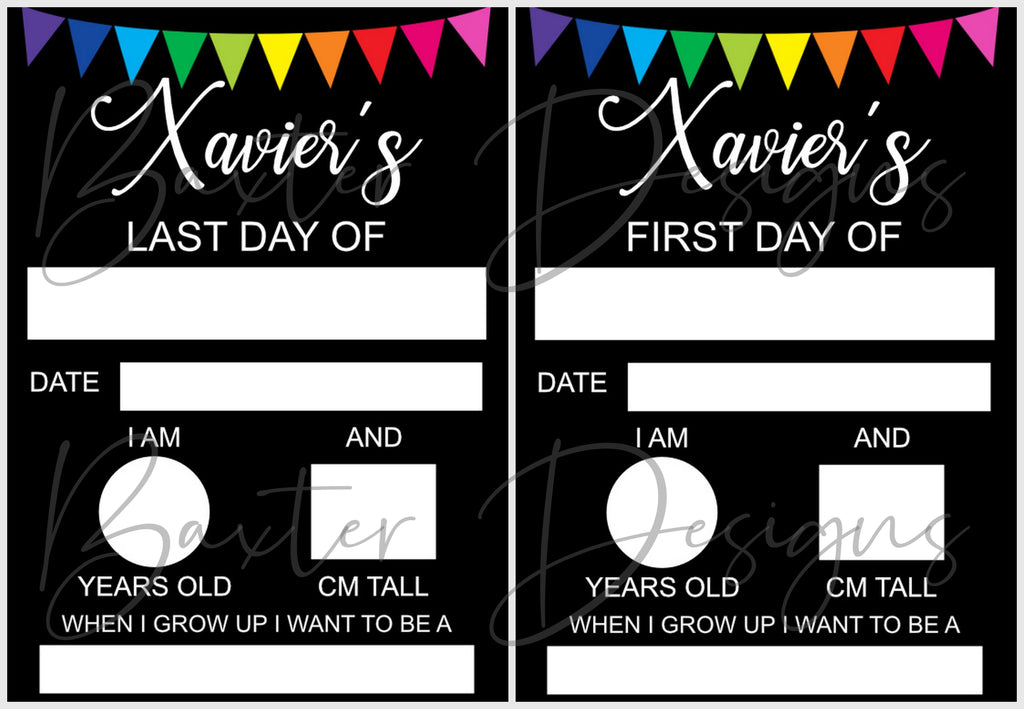 First & Last Day of School Photo Milestone Whiteboard Double Sided - Baxter Designs Australia
