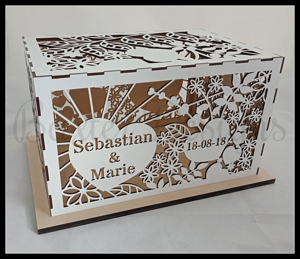 Single Box Wooden Wedding Engagement Party Card Wishing Well Box Painted