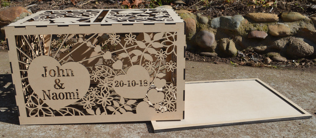 FLAT PACK of Single Box Wooden Wedding Engagement Party Card Wishing Well Box Painted