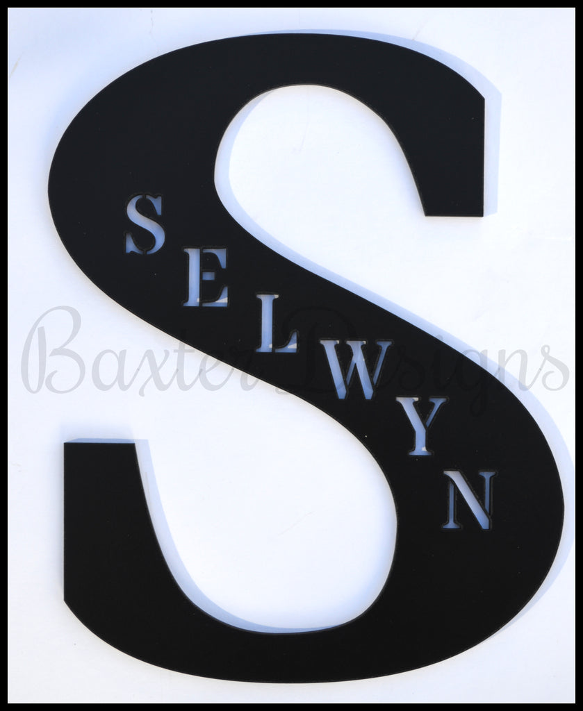 wooden letters personalised black