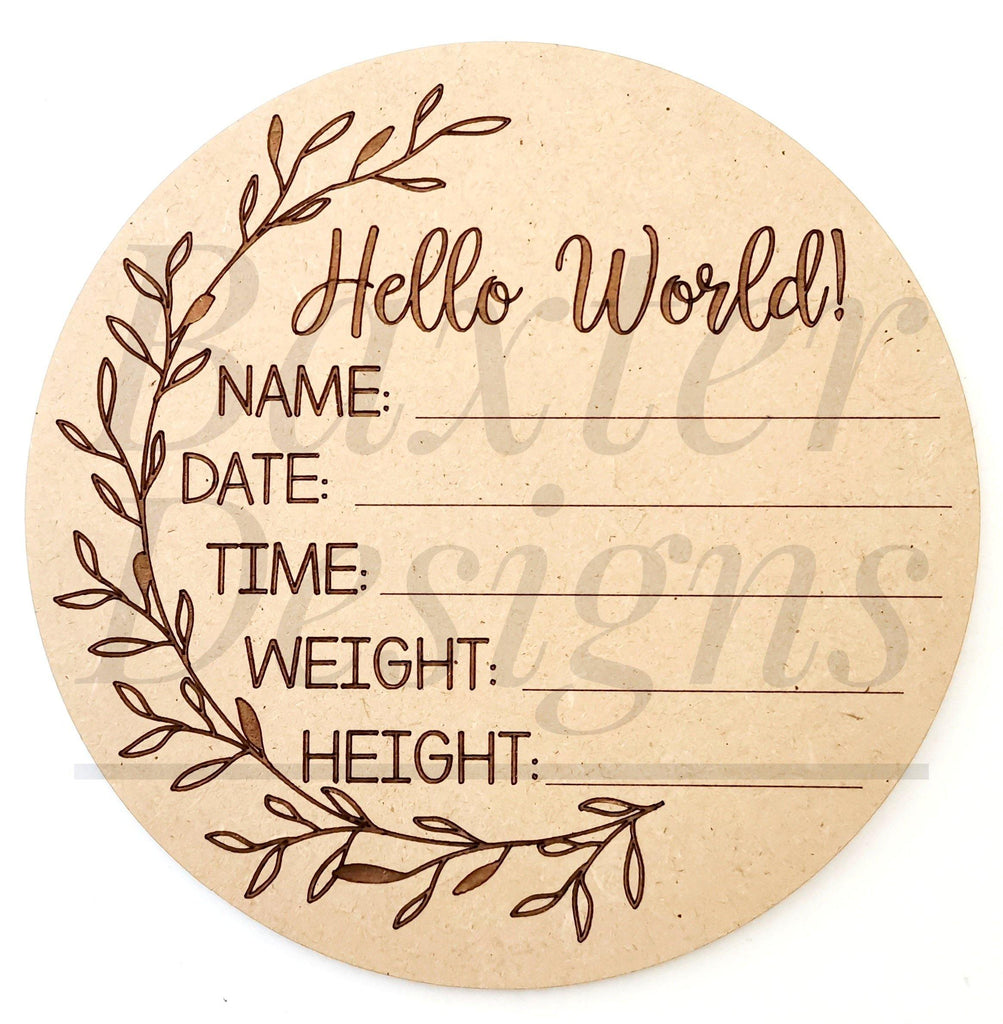 Hello World Baby Birth Announcement Discs - Side Wreath - Baxter Designs Australia