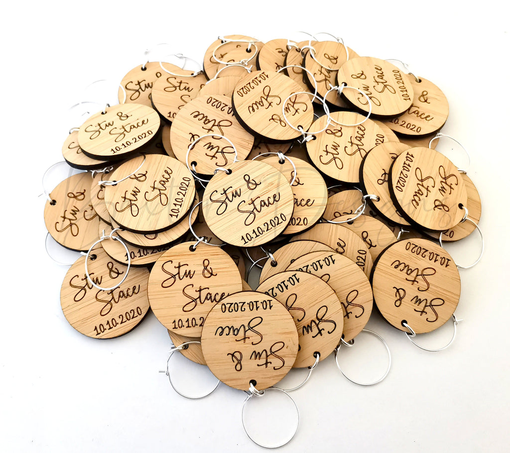 Personalised Wine Glass Charms Wood