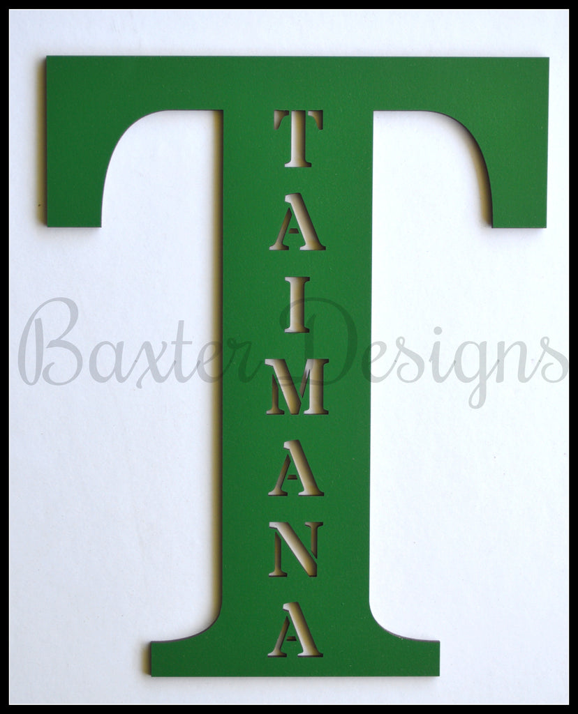wooden letters personalised green