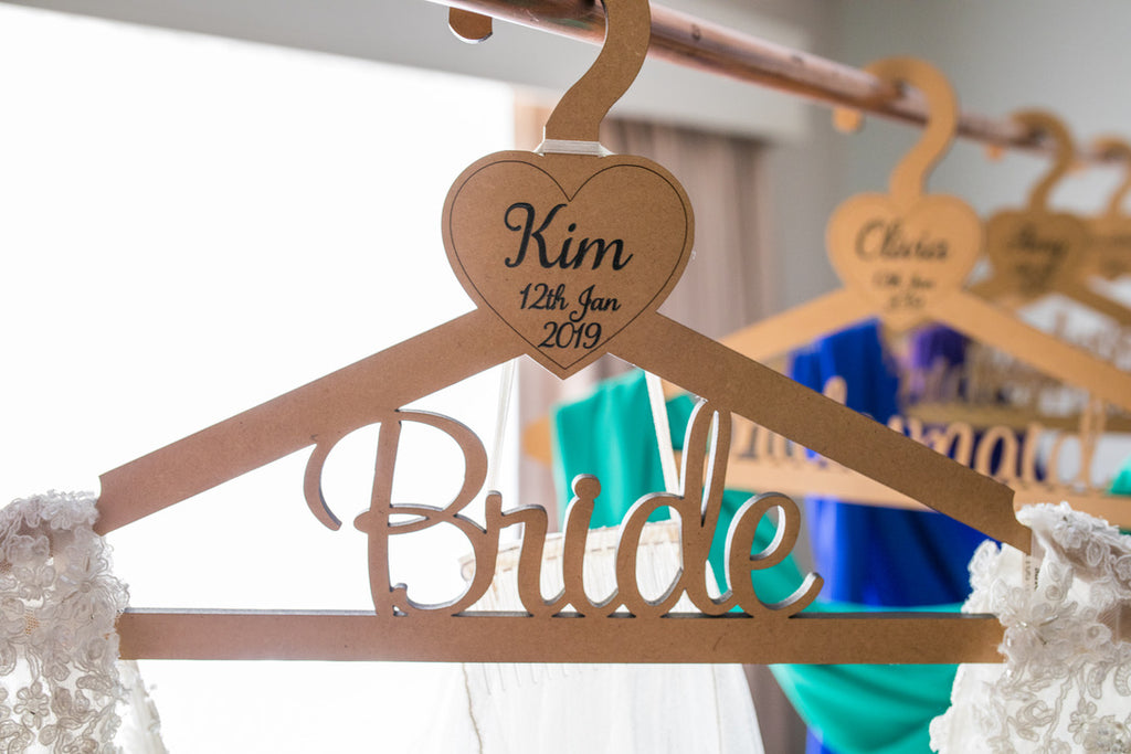 Wedding Coat Hangers Personalised Bride Groom Bridesmaid Groomsman