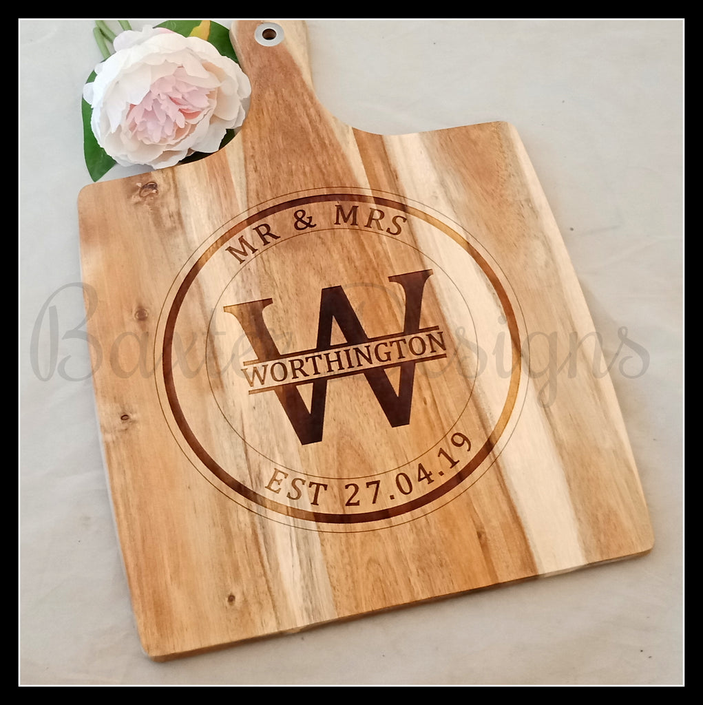 Personalised Wooden Square Chopping Boards Wedding Anniversary Gift Present Birthday