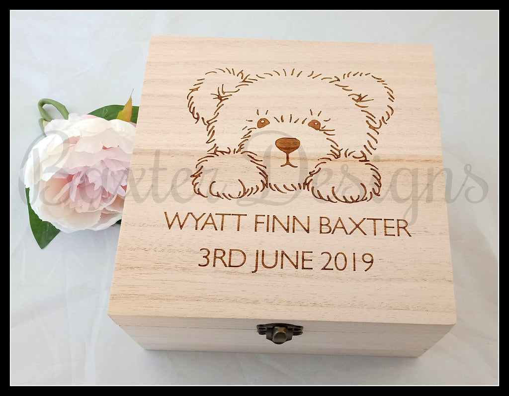Personalised Wooden Baby Keepsake Box Bear 16cm Square - Baxter Designs Australia