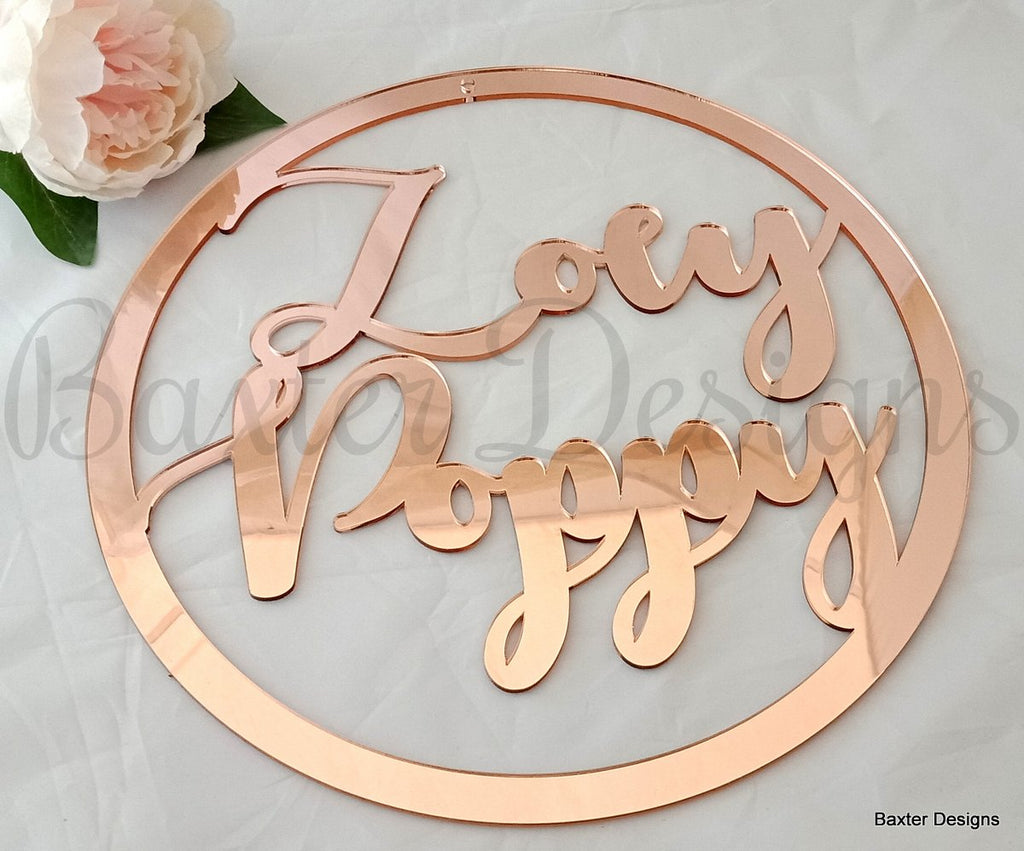 50cm Mirror Acrylic Hanging Hoop Sign for Weddings, Christenings, Baby Showers, Engagements and Events