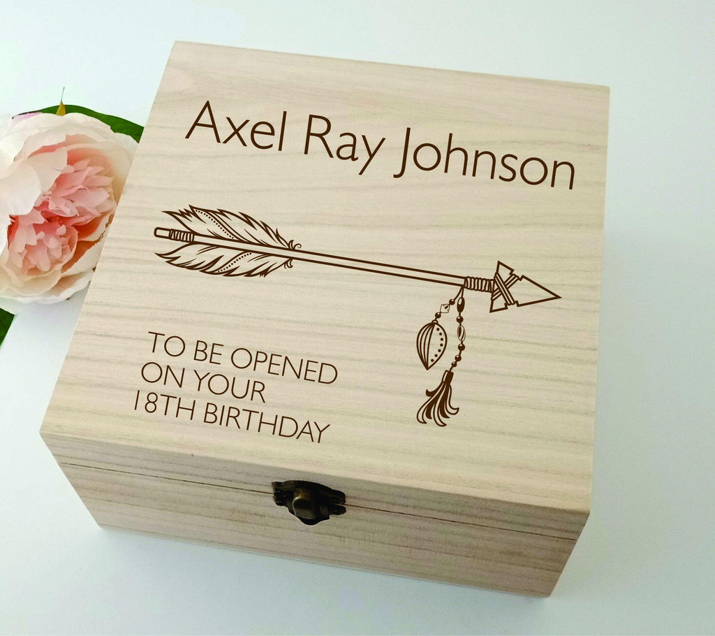 Personalised Wooden Baby Keepsake Box Arrow 16cm Square - Baxter Designs Australia