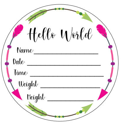 Wood Birth Announcement Disc Plaque Sign Boho