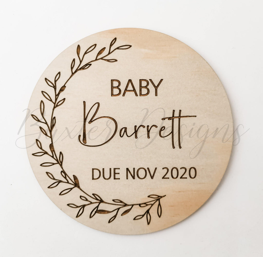 Baby Surname Announcement Disc - Due Month Year - Baxter Designs Australia