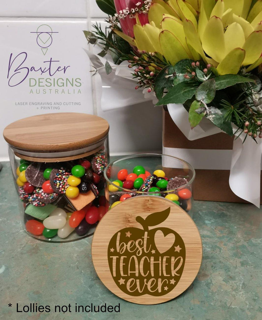 Teacher Thank you Lolly Jar Engraved Lid Single - Baxter Designs Australia