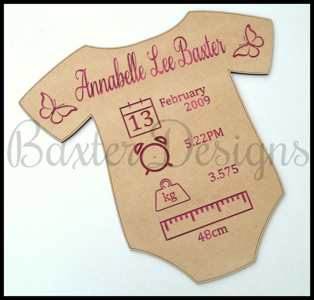 Baby Birth Details Announcement Onesie Welcome to the World Wooden Baby Born - Baxter Designs Australia