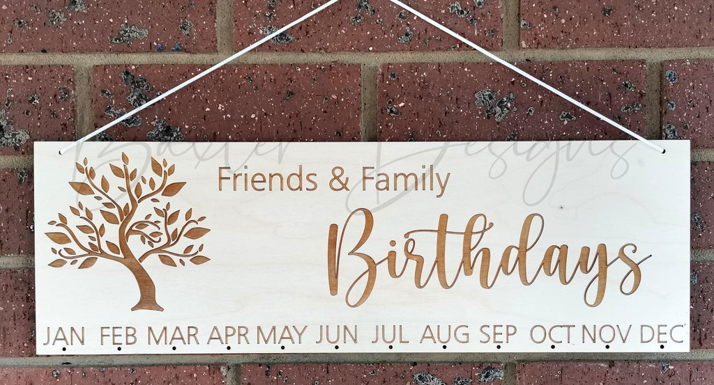 Friends and Family Birthday Dates Hanging Board - Baxter Designs Australia