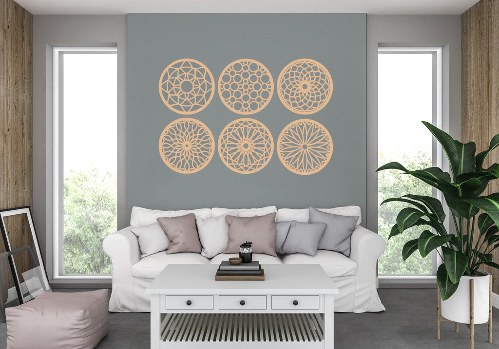 Circle Mandala Wall Signs MDF - Lounge Room, Dining Room, Hallways Set of 6