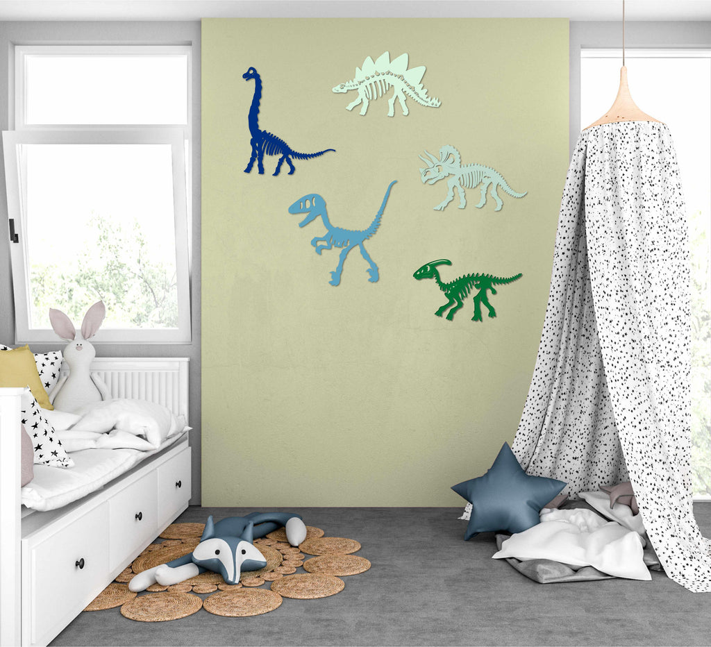 Dinosaur Skeleton Painted Cutouts 7 Set Wooden Wall Decor Home Children Kid Toy Room - Baxter Designs Australia