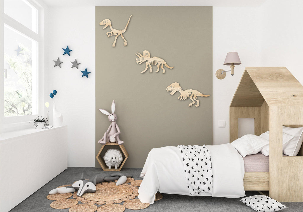 Dinosaur Skeleton Cutouts Wooden Wall Decor Home Children Kid Toy Room