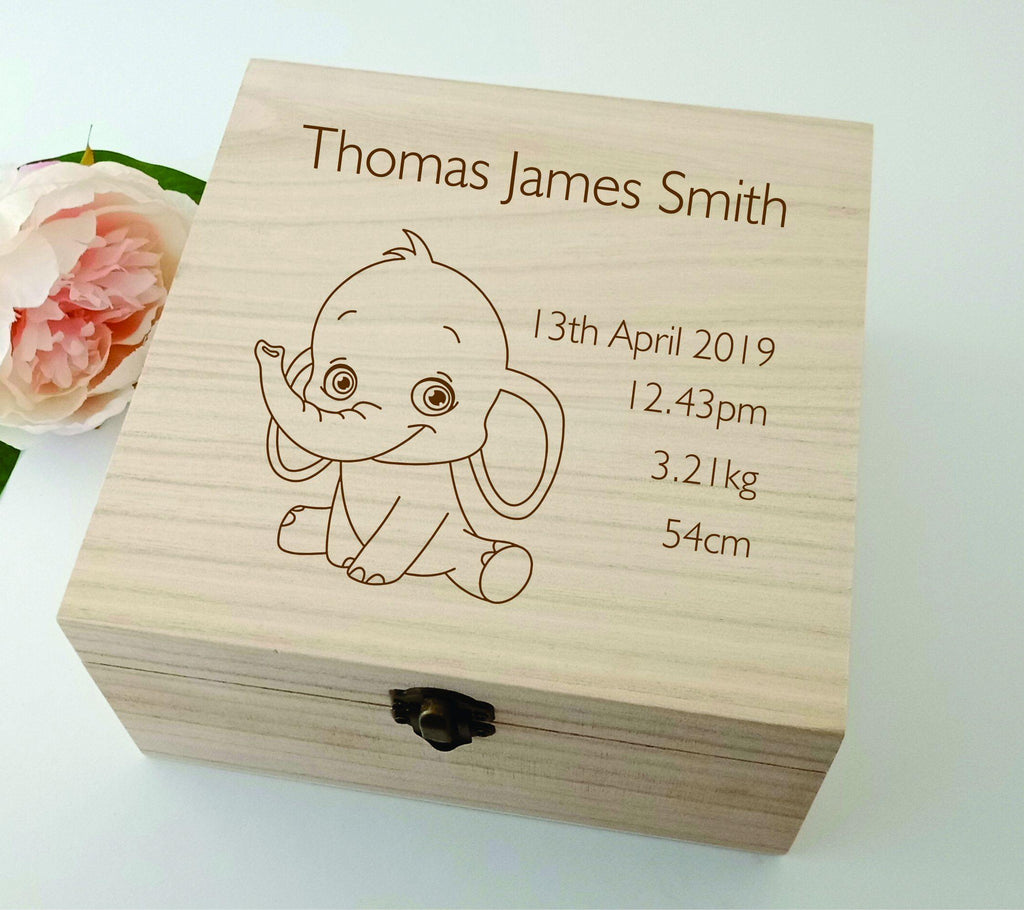 Personalised Wooden Baby Keepsake Box Elephant 16cm Square - Baxter Designs Australia