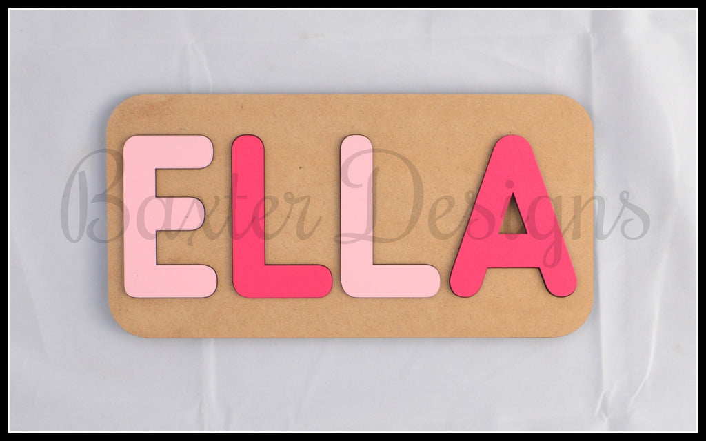 3-4 Letter Name Puzzle Raw and Coloured Personalised Wooden Puzzles