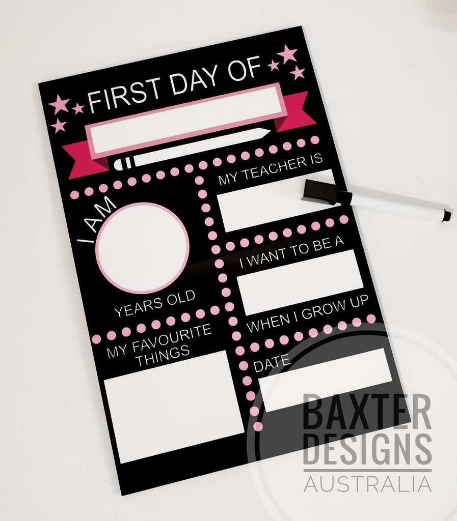 First & Last Day of School Photo Banner Milestone Whiteboard Double Sided