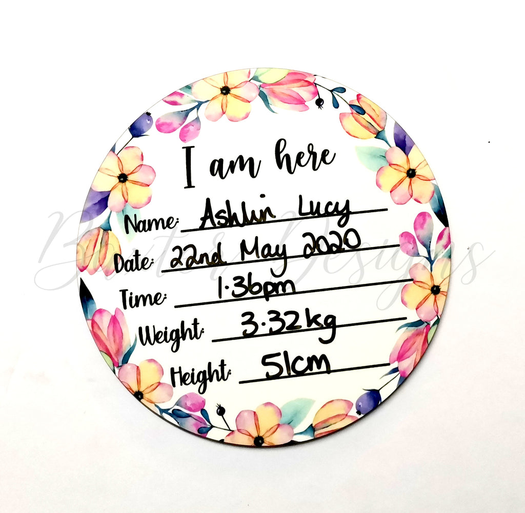 Wood Birth Announcement Disc Plaque Sign Flowers