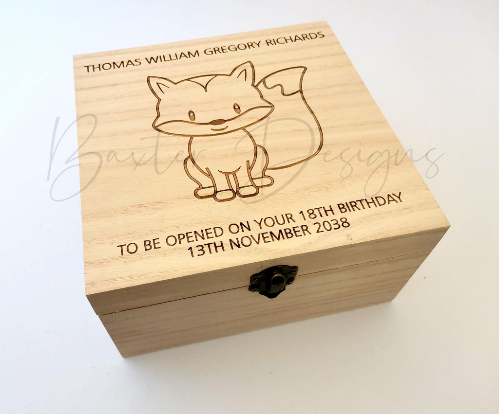 Personalised Wooden Baby Keepsake Box Fox 16cm Square - Baxter Designs Australia