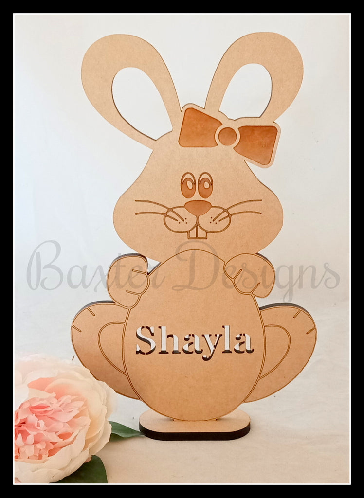 Wooden Easter Bunny Easter Egg Personalised with Name Freestanding