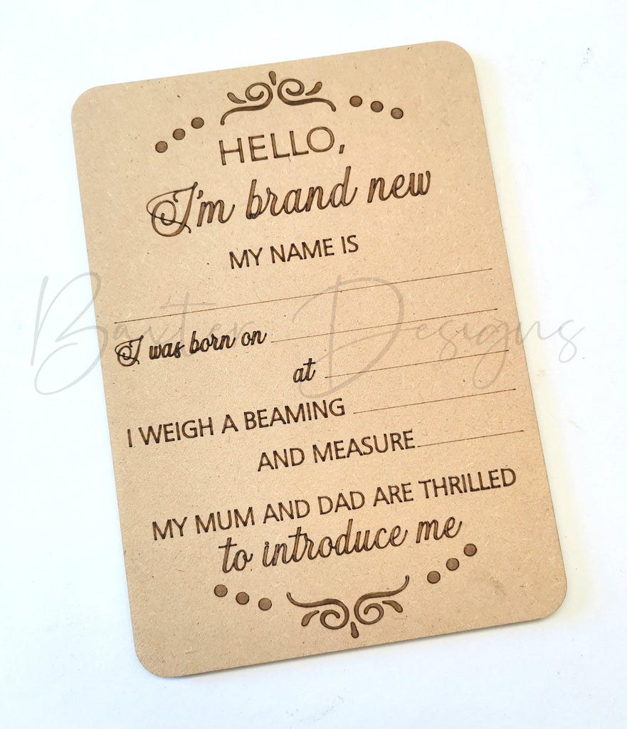 Hello I'm Brand New Baby Birth Announcement Sign - Baxter Designs Australia