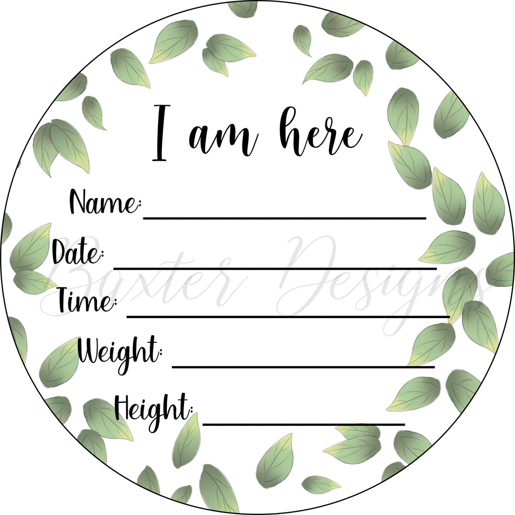 Wood Birth Announcement Disc Plaque Sign Leaves