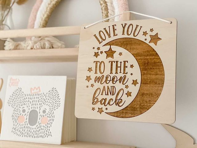Children Room Quote Wall Signs - Love you to the moon and back square