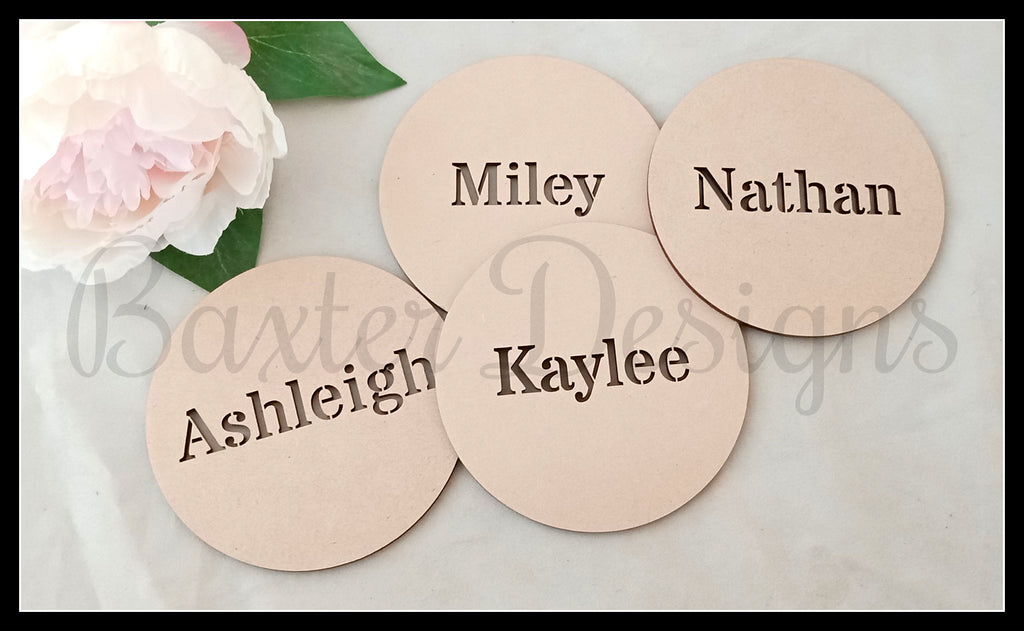 Wooden Place Table settings Plate Name Cut Wedding Birthday Engagement Event