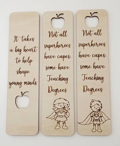 Wooden Personalised Bookmarks Custom Gift Present Teacher Girl Boy Child Christmas Birthday
