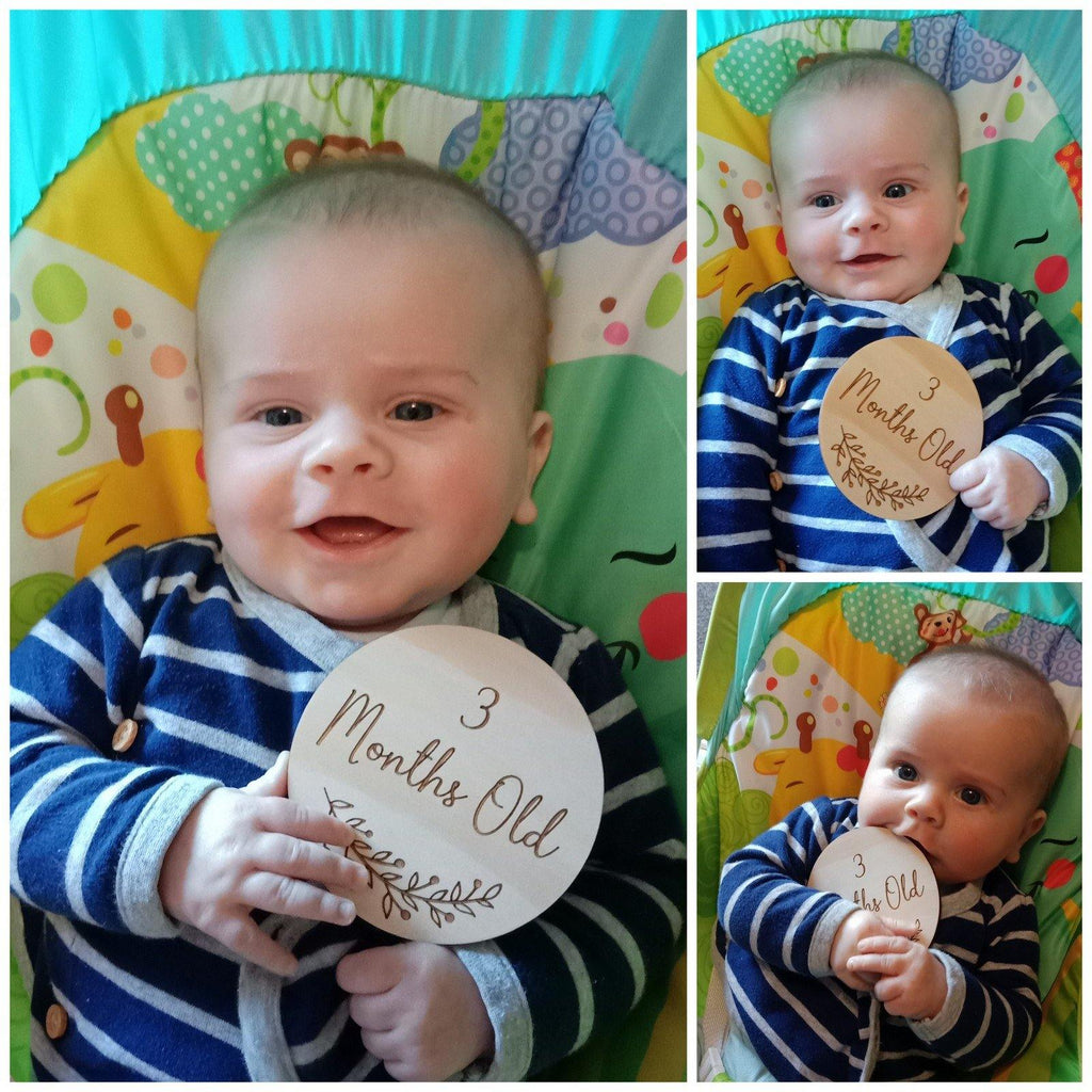 Baby Age Milestone Ply Engraved Wooden Discs 10cm Photo Props Set
