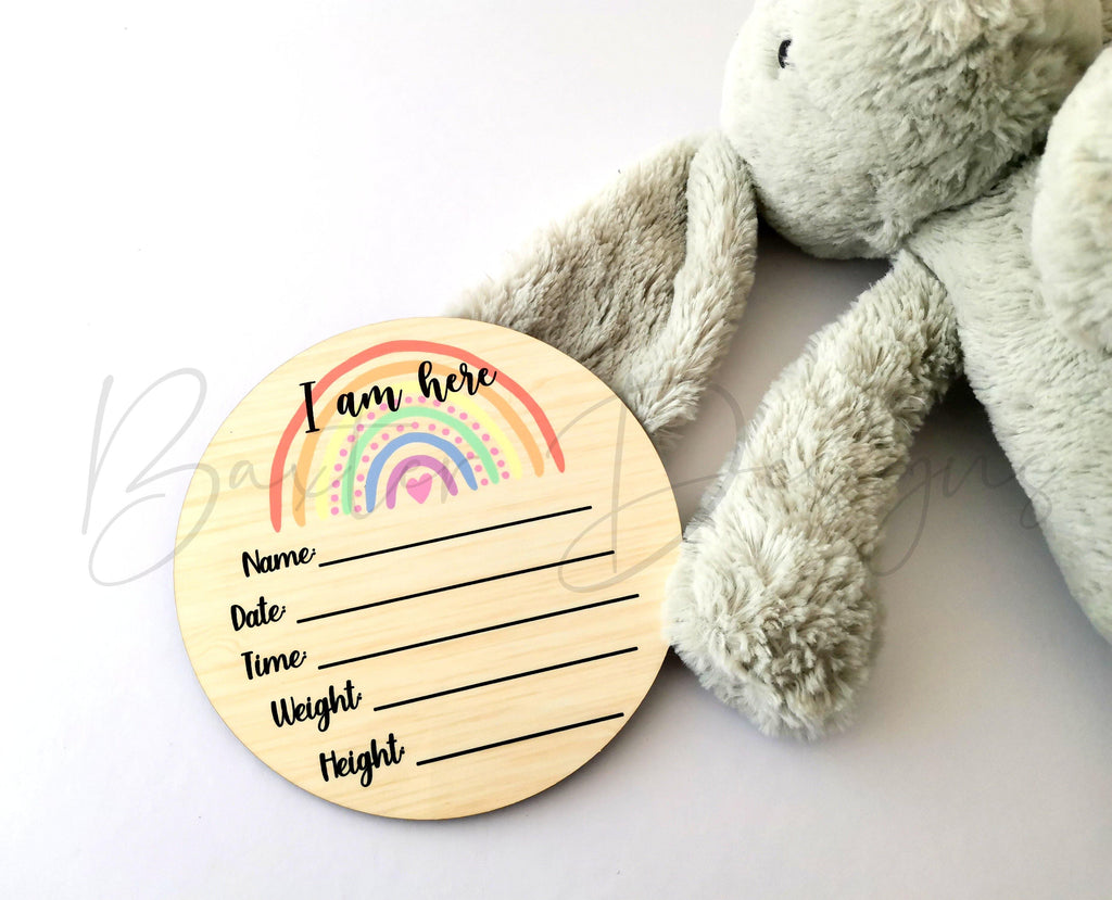 Baby Age Rainbow Milestone Wooden Printed Discs 10cm Photo Props Set - Baxter Designs Australia