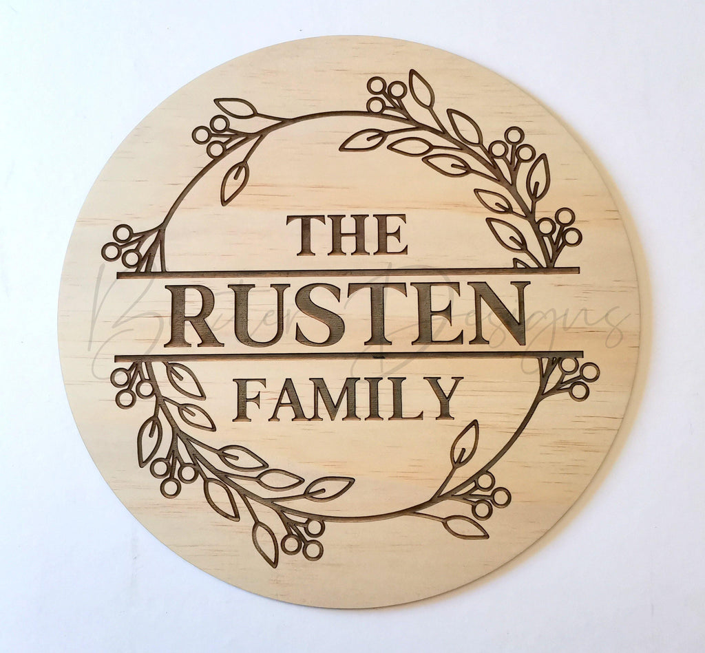 Family Surname Wall Sign Wreath - Baxter Designs Australia