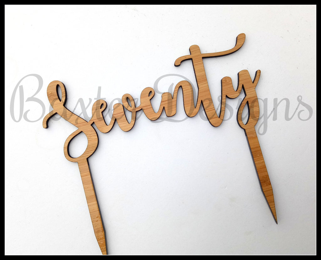 Personalised Bamboo Wood Cake Topper Birthday Wedding Engagement Custom