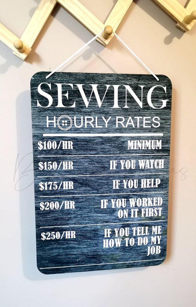 Sewing Hourly Rates Printed Wood Sign - Baxter Designs Australia