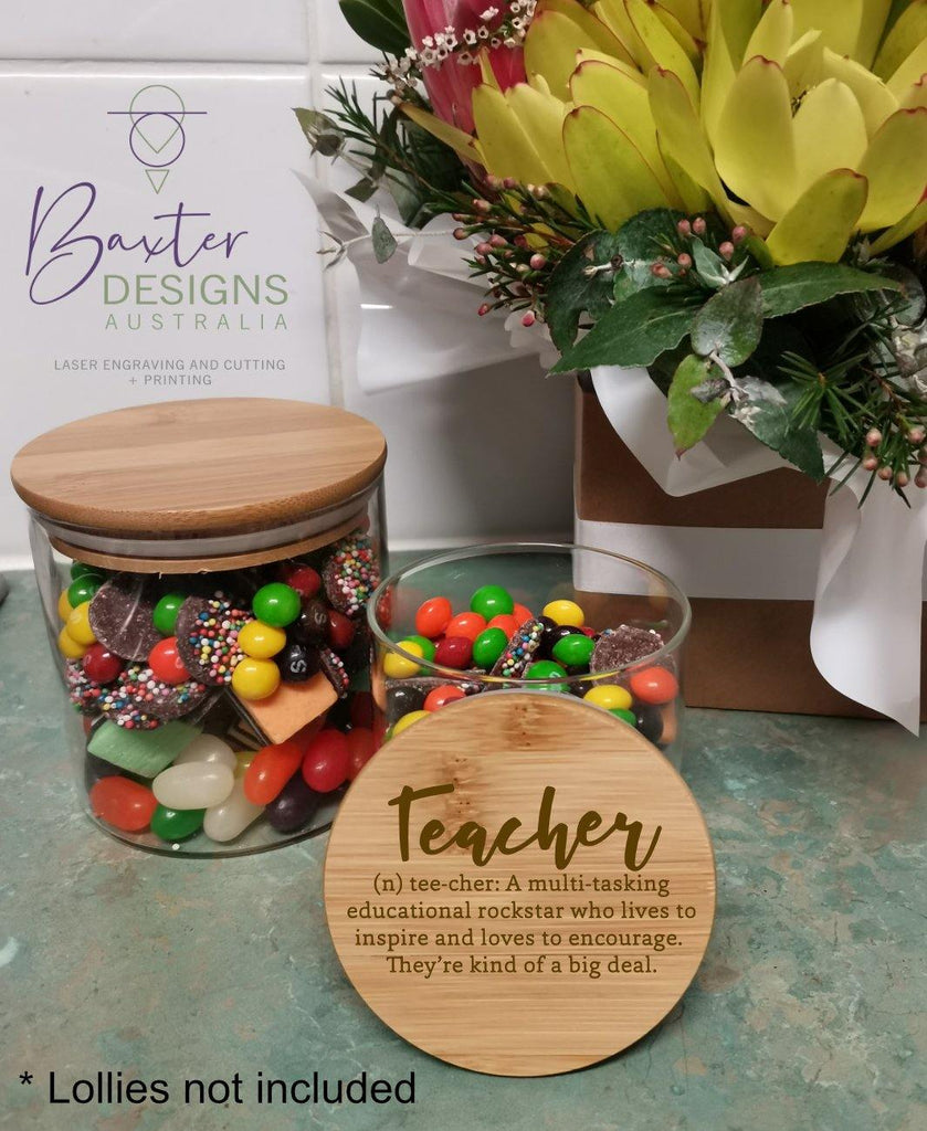 Teacher Thank you Lolly Jar Engraved Lid x2 - Baxter Designs Australia