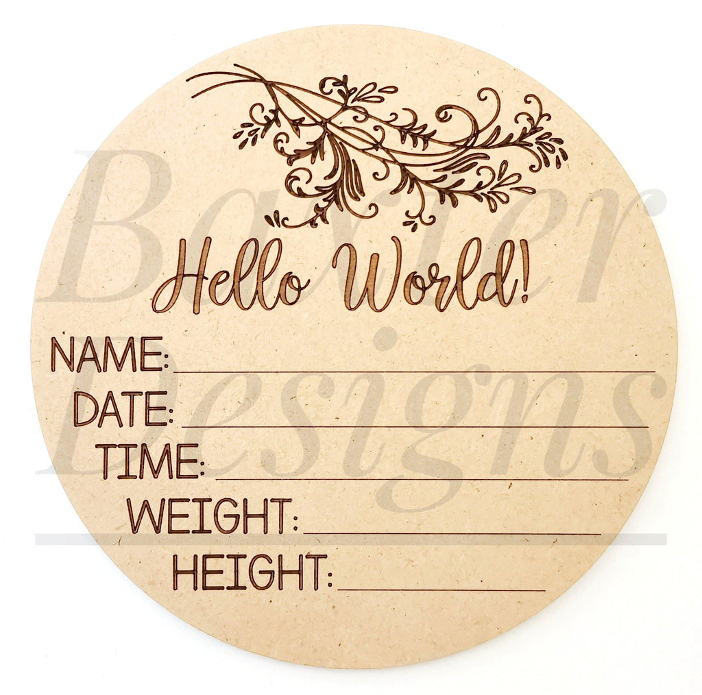 Wood Birth Announcement Disc Plaque Sign