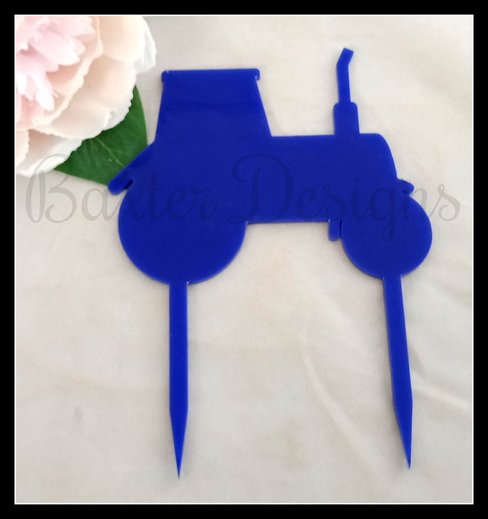 Colour Acrylic Cake Topper Tractor