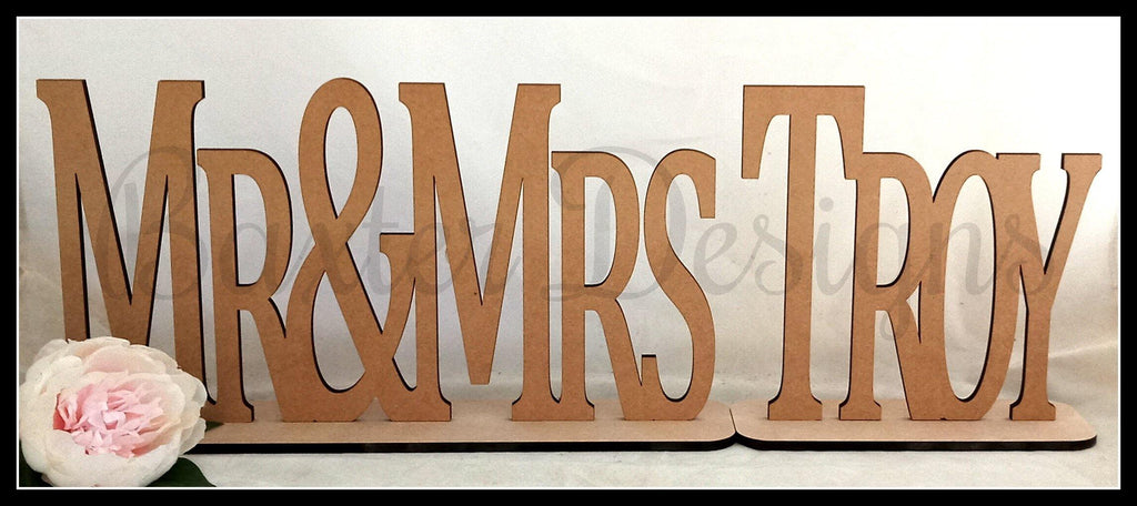 Bridal Table Mr & Mrs Sign Birthday Party Wedding Engagement Event Wooden Decoration