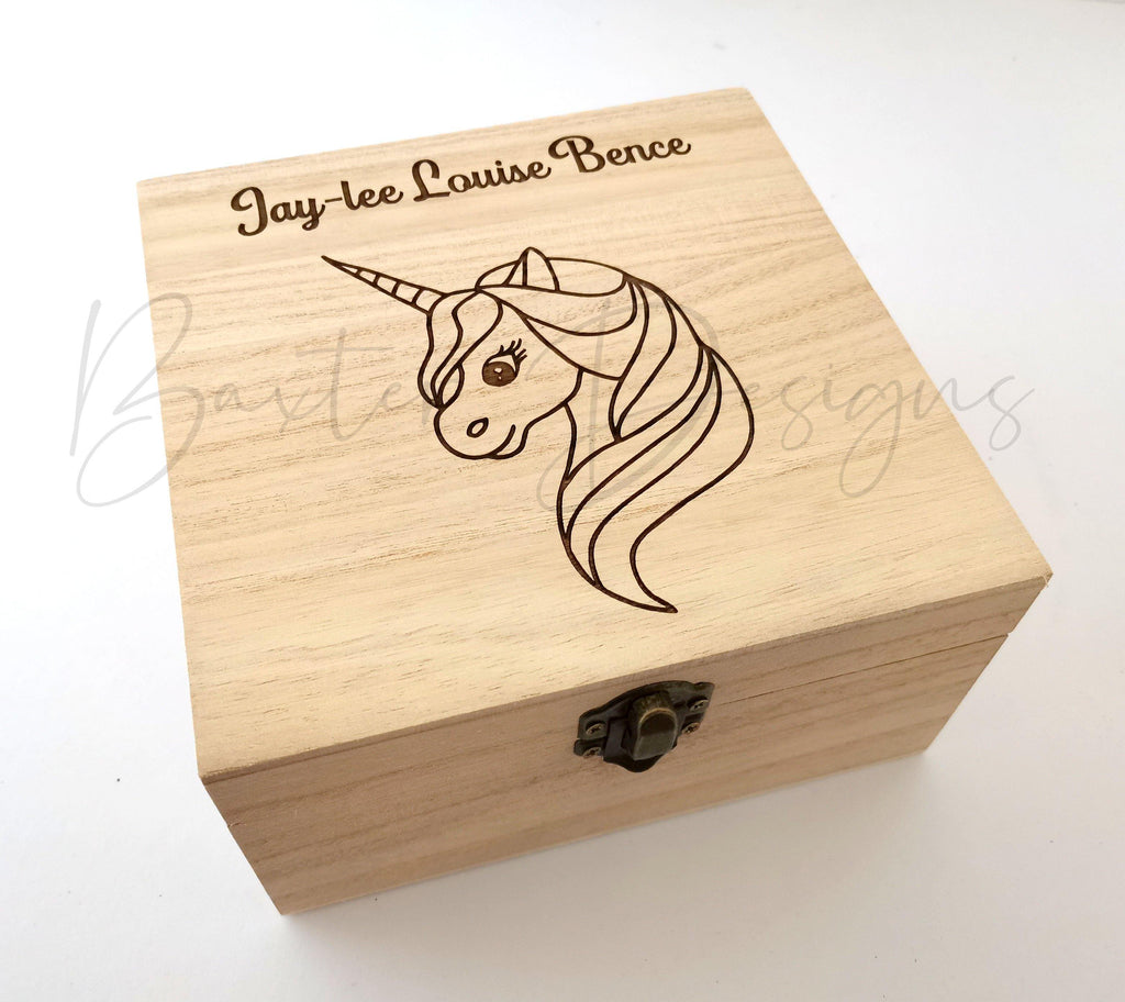 Personalised Wooden Baby Keepsake Box Unicorn 16cm Square - Baxter Designs Australia