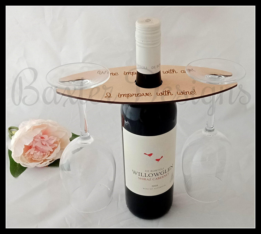 Wine Caddy Bottle and 2 Glass Holder